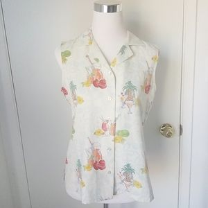 Tommy Bahama Blouse silk Hawaiin Size 10